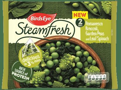 Packet shot of Birds Eye Steamfresh Romanesco Broccoli, Garden Peas and Leaf Spinach
