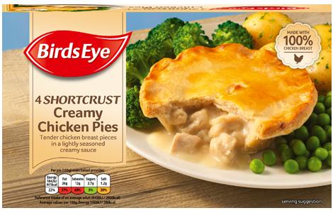 Birds Eye 4 shortcrust creamy chicken pies