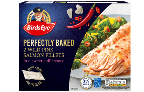 Birds Eye Perfectly Baked salmon fillets in a sweet chilli sauce