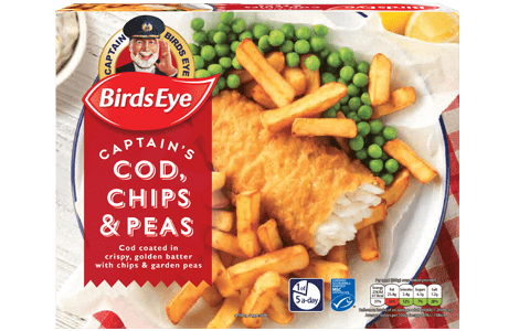 Birds Eye Cod Chips and Peas Platter