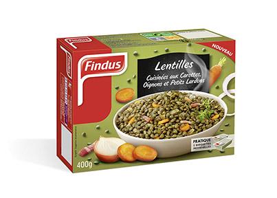 lentilles cuisinées aux carottes oignons et petits lardons Findus