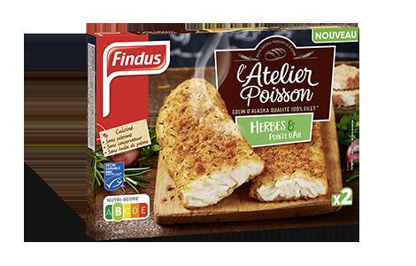 Paquet de poisson pané à l'ail et aux herbes de l'atelier poisson Findus
