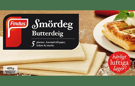Pakningsbilde: Findus butterdeig (smørdeig) - ferdige plater