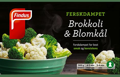 Pakningsbilde brokkoli og blomkål, ferskdampet, med Nøkkelhullmerke fra Findus
