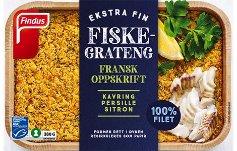 Fransk Fiskegrateng pakke fra Findus. Mye fisk, uten melk.