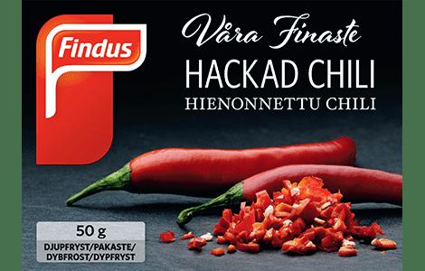 Rød chili - pakningsbilde Findus ferdig hakket chili