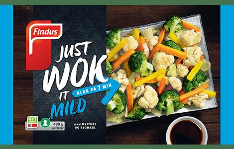 Wok Classic pakningsbilde Findus; frosne kuttede grønnsaker til bruk i wok (brokkoli, blomkål, gulrot mm.)
