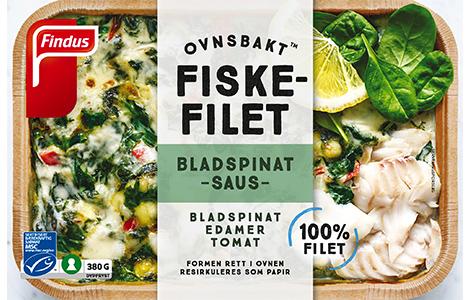 ovnsbakt fiskefilet med bladspinatsaus