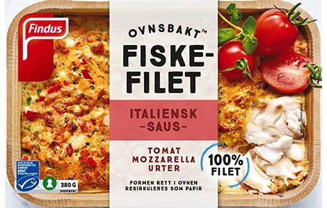 ovnsbakt fiskefilet med italiensk saus