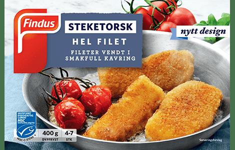 Pakningsbilde Findus Steketorsk - hele torskefileter med panering