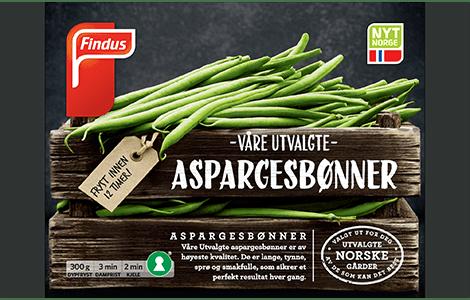 Aspargesbønner fra Findus, pakke merket med Nyt Norge og Nøkkelhull