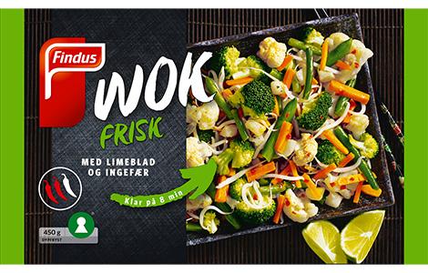 Wok frisk pakningsbilde Findus; grønnsaker ferdig kuttet til wok blanding, med limeblad, ingefær og chili