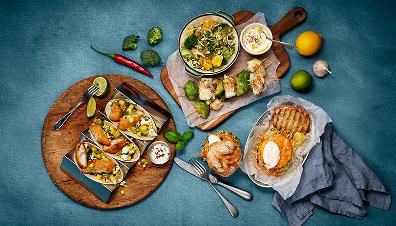 Fish taco, fiskburgare och fiskspett