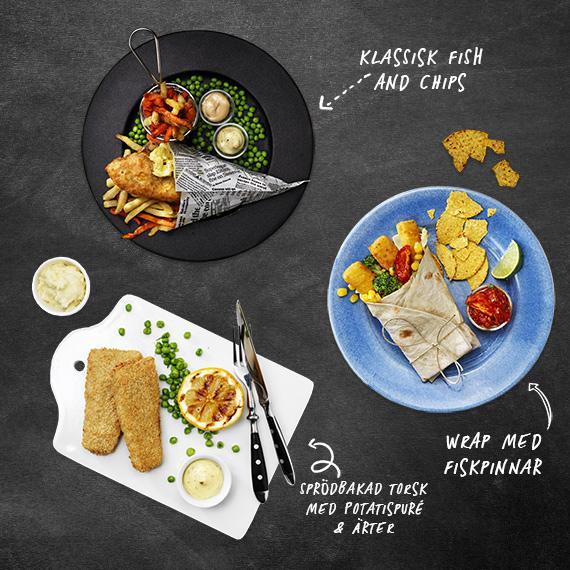 Serveringsförslag med panerad fisk
