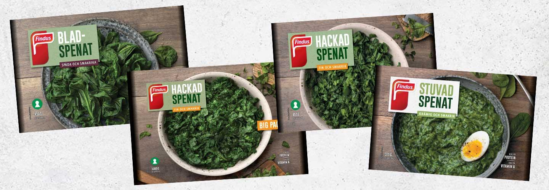 Findus spenatsortiment i miljövänlig påse; bladspenat, hackad spenat big pack, hackad spenat samt stuvad spenat