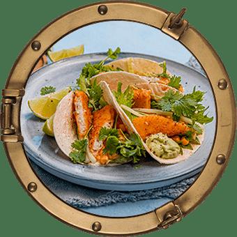 Fiskpinnetacos med guacamole och majsröra