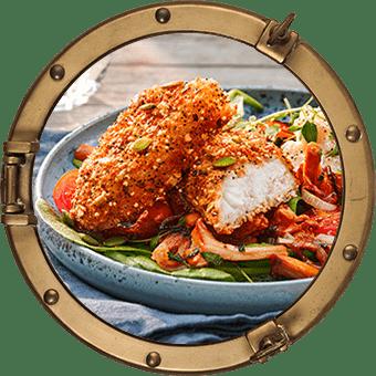 Fröbakade fiskfiléer