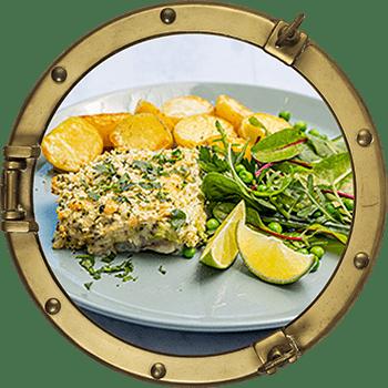Ugnsbakad fiskfilé med broccolisås och potatis