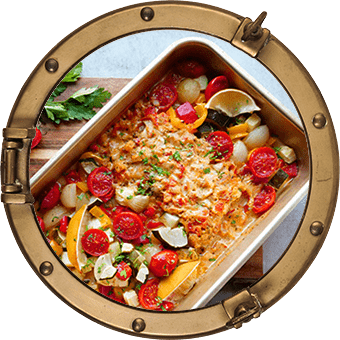 Ugnsbakad fisk med italiensk tomatsås