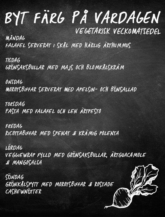 Veckomeny vegetariska veckan