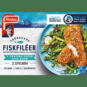 Fröbakade fiskfiléer Findus förpackning