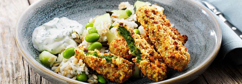Findus Green Cuisine Spenatpinnar med ris, sås & sojabönor