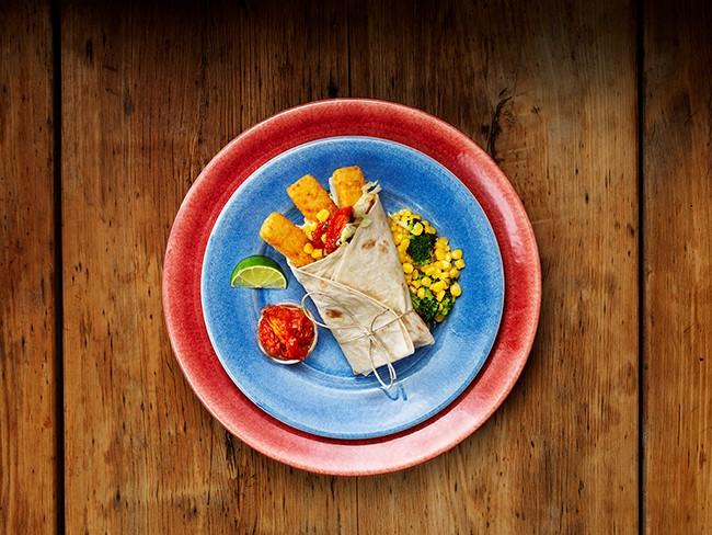 Fiskpinnewrapp med grönsaker