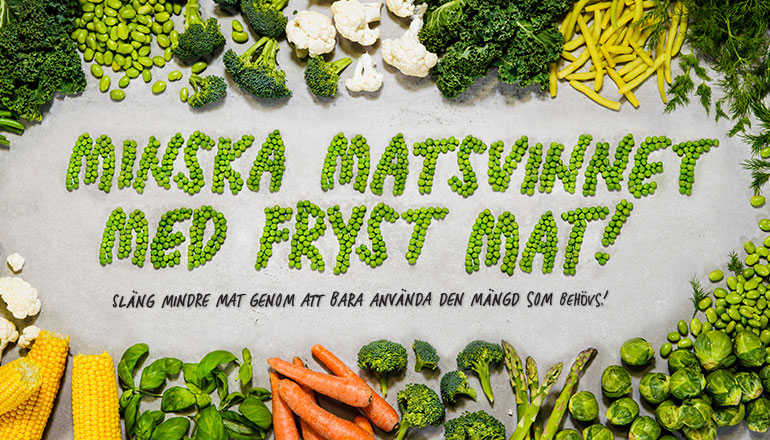Grönsaker på en varmgrå stenplatta med texten inga minska matsvinnet med fryst mat skrivet i gröna ärter från Findus