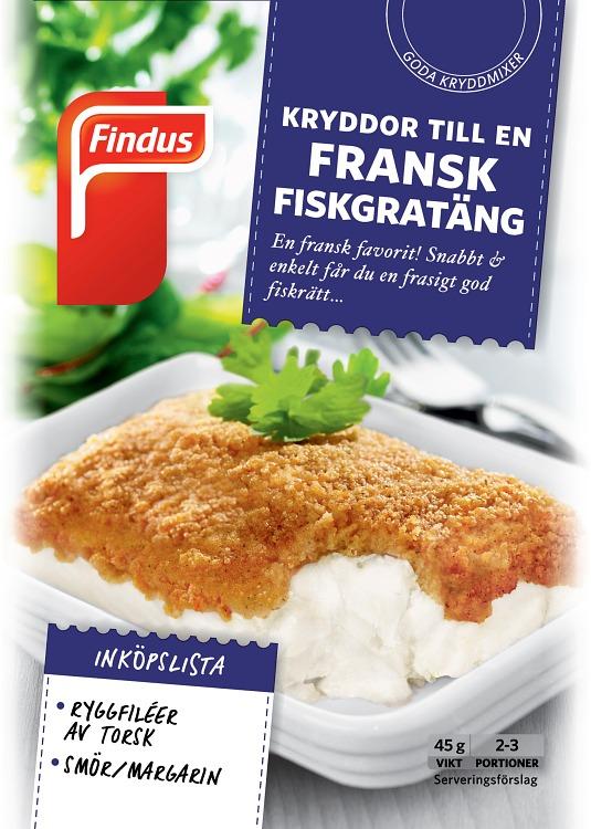 förpackningsomslag fransk fiskgratäng