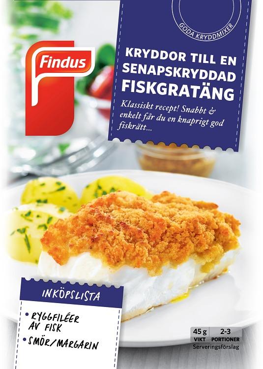 förpackningsomslag senapskryddad fiskgratäng