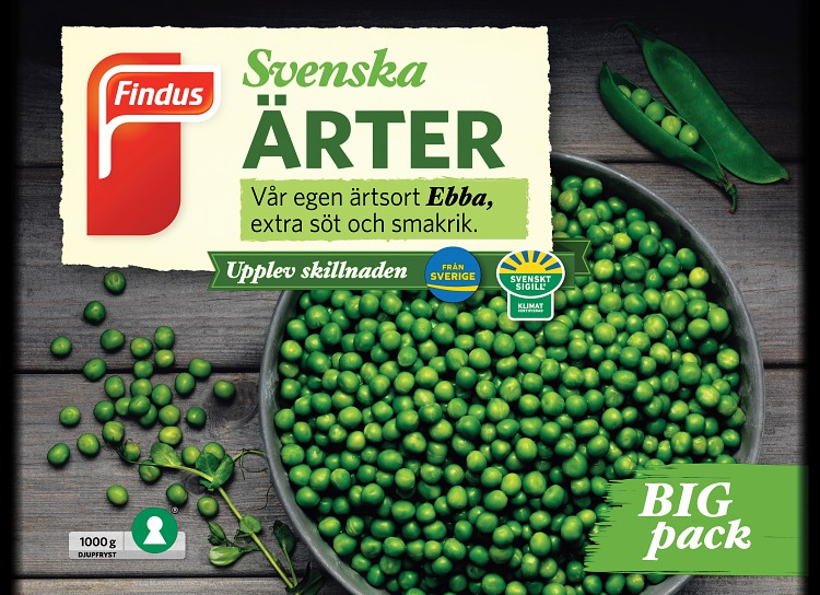 Findus Svenska ärter förpackning