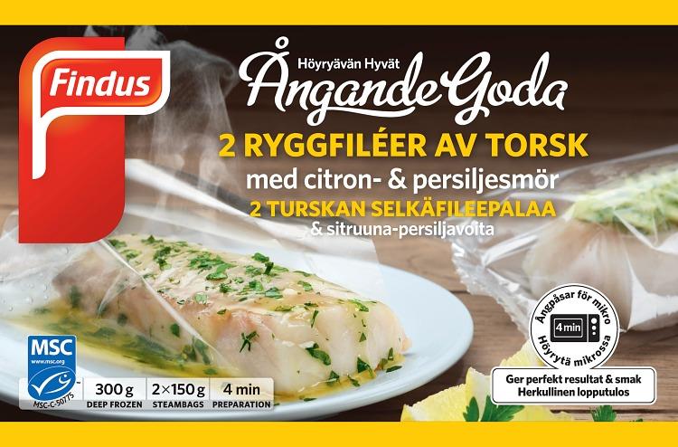 förpackningsomslag ångande goda ryggfileér av torsk