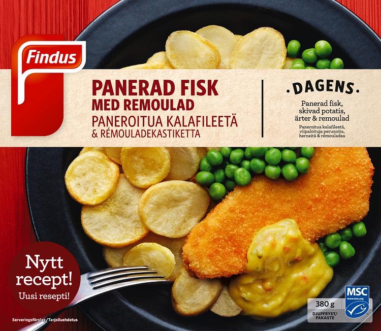 Förpackning panerad fisk med remouladsås