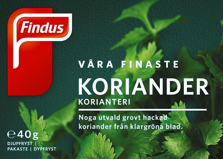 Förpackning Findus Våra finaste koriander