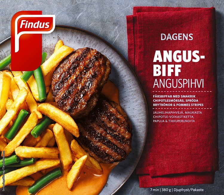 Dagens angus-biff förpackning findus