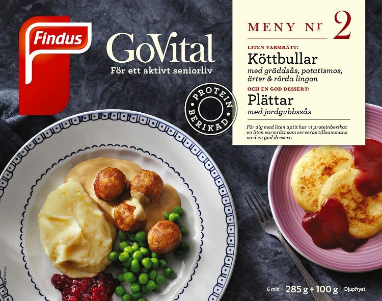 Förpackning Findus GoVital Köttbullar med gräddsås