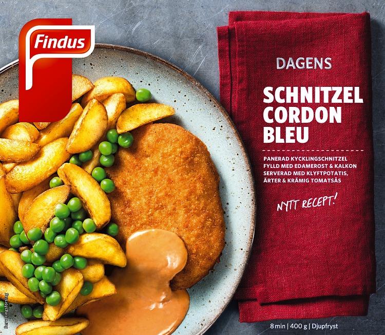 Dagens schnitzel cordon bleu förpackning findus