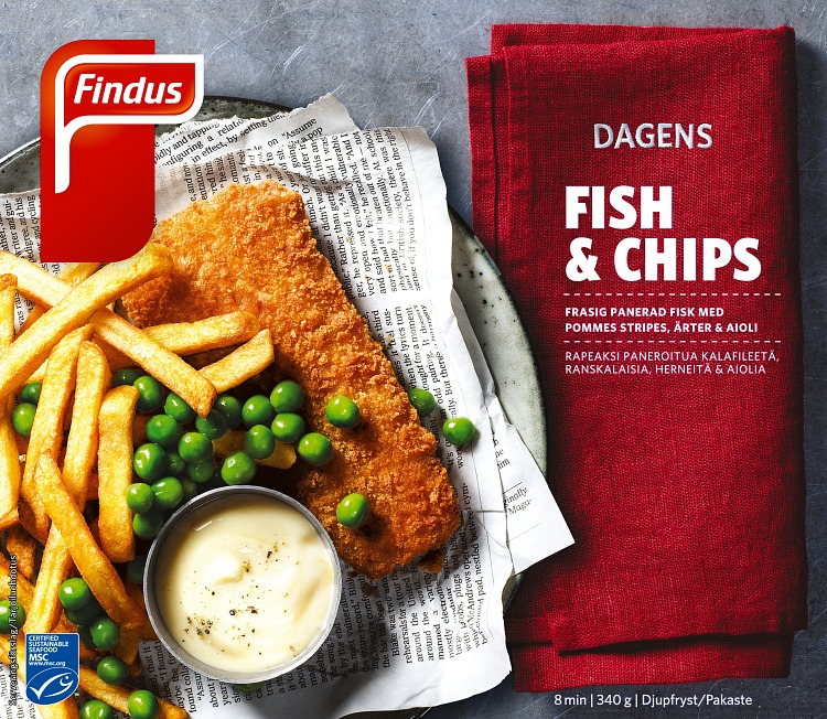 Dagens fish & chips förpackning findus
