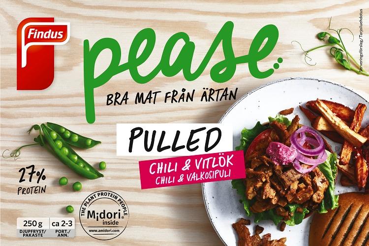 Förpackning Findus Pease pulled chili och vitlök