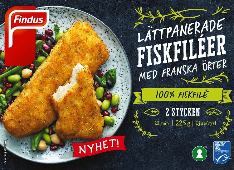 Förpackning Findus Lättpanerade fiskfiléer med franska örter