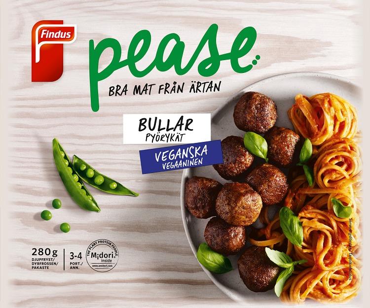 Förpackning Findus Pease bullar veganska