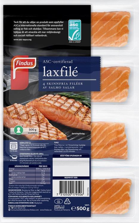 Förpackning Findus ASC-certifierad laxfilé