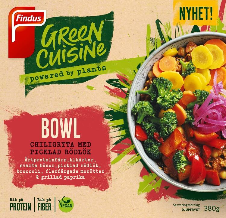 Pease bowl vegansk chiligryta med picklad rödlök förpackning Findus