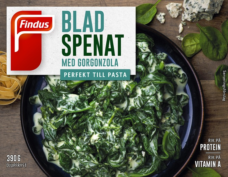 Förpackning Findus Bladspenat med gorgonzola