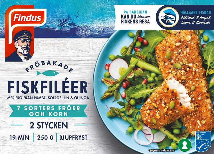 Förpackning Findus Fröbakade fiskfiléer