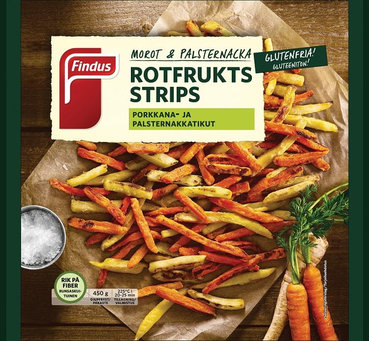 Förpackning Findus Rotfruktsstrips glutenfria