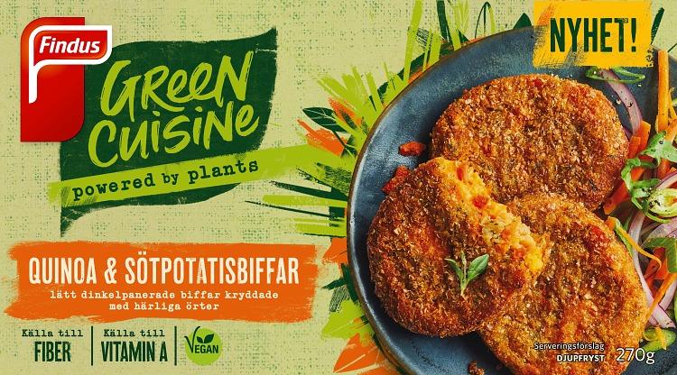 Förpackning Findus Green Cuisine Quinoa- och sötpotatisbiffar