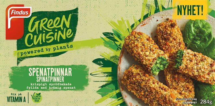 Förpackning Findus Green Cuisine Spenatpinnar
