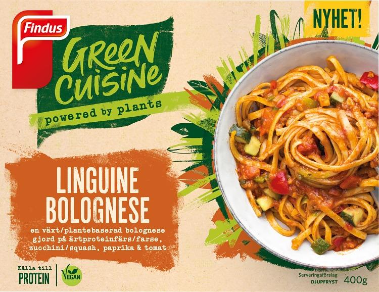 Förpackning Findus Green Cuisine Linguine Bolognese