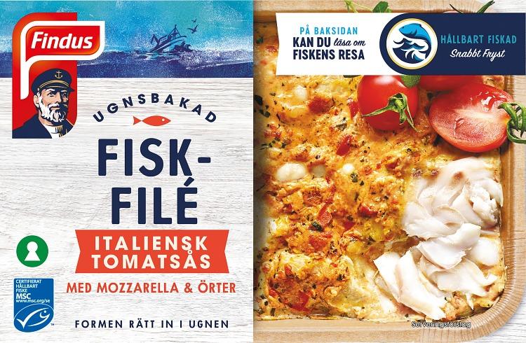 Förpackning Ugnsbakad fiskfilé Italiensk tomatsås